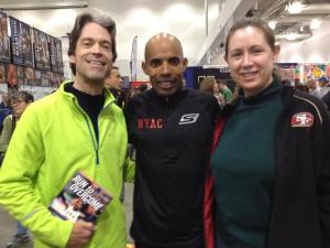 Lynn and I get to meet Meb Keflezighi at the Boston Marathon Expo.